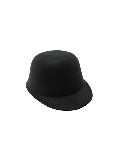 Laslusa İçten Ayarlanabilir Düz Jokey Keçe Şapka Siyah